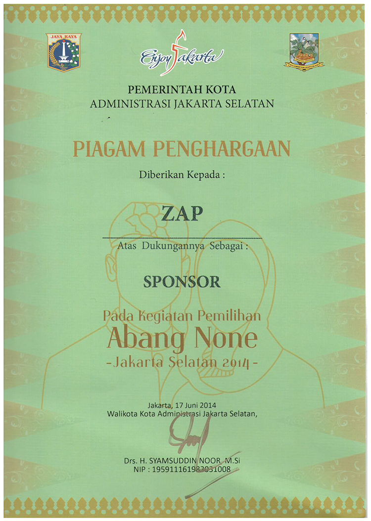 Piagam Sponsor Abang None Jakarta Selatan 2014