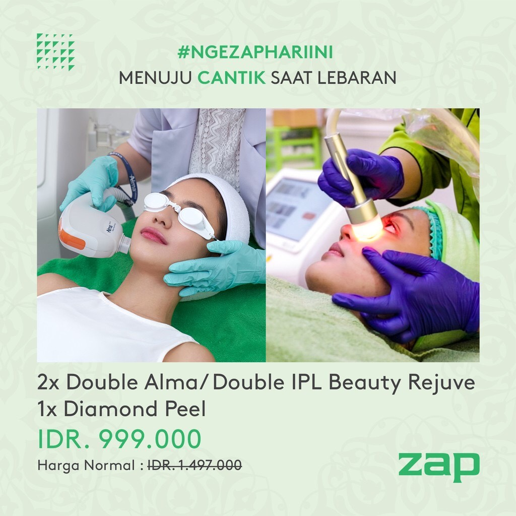 2x Double Alma atau Double IPL Rejuvenation dan 1x Diamond Peel